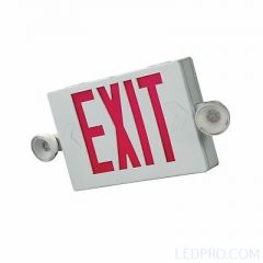 LED Exit Sign & Emergency Light Combo-White-Red Letters