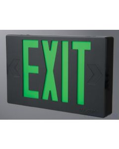 LED EXIT Sign w/ Maintenance Free NiCad Battery-Black-Green Letters