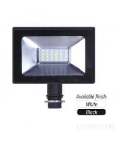 LED SMD Floodlight w/ 3/4 inch NPS threaded locking swivel knuckle-Black-50 Watt-5000 K