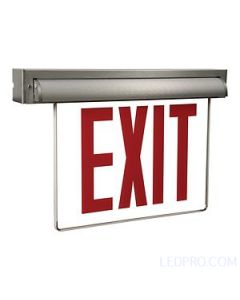 Edge-Lit Led Self-Powered Exit Sign - NYC Compliant, Self-Diagnostics-Brushed Aluminum
