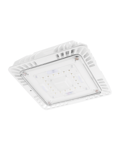 LED Parking Garage Canopy Luminaire, 120V-277V, 0-10V dimming, White Finish, 5000K-40 Watt