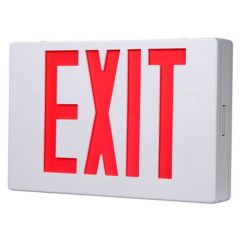 LED EXIT Sign w/ Maintenance Free NiCad Battery-White-Red Letters