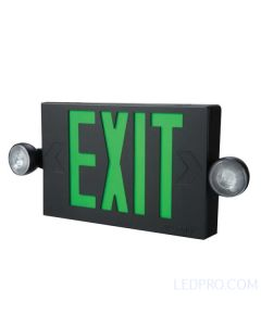 LED Exit Sign & Emergency Light Combo-Black-Green Letters