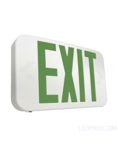 LED EXIT Sign w/ Maintenance Free NiCad Battery-White-Green Letters