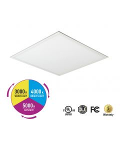 ASD LED Edge-Lit Flat Panel CCT Adjustable 2x2 27W 3000-5000K 3400lm 125lm/w DIM DLC PRM
