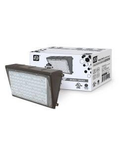 ASD LED Compact Wallpack w/optic lens 50W 5000K 5500lm 110lm/w Bronze w/PC